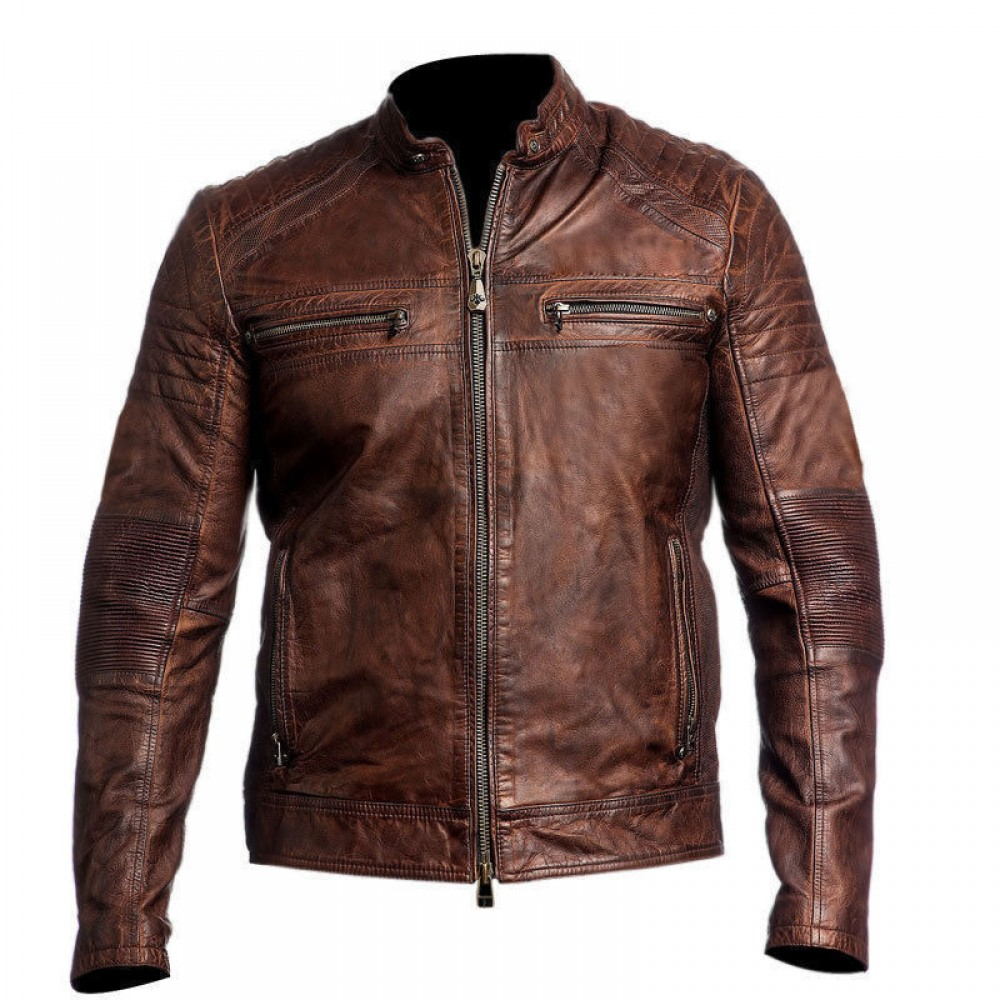 Cafe Racer Brown Distressed Leather Jacket | Distressed jacket