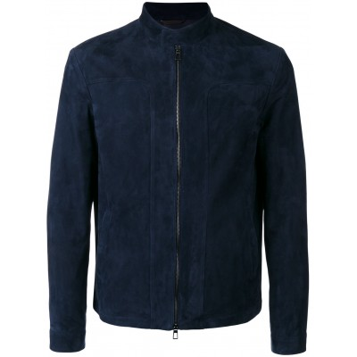 Navy Blue Suede Leather Jacket For Sale | Distressed Leather Jacket
