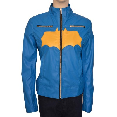 Delicate Yellow Batgirl Logo Blue Leather Jacket | Women jackets