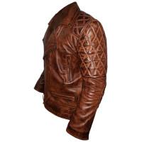 Classic Diamond Mens Biker Dark Brown Jacket | Distressed jackets