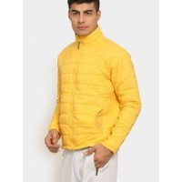 Distressed Men Yellow Fit Winter Jacket
