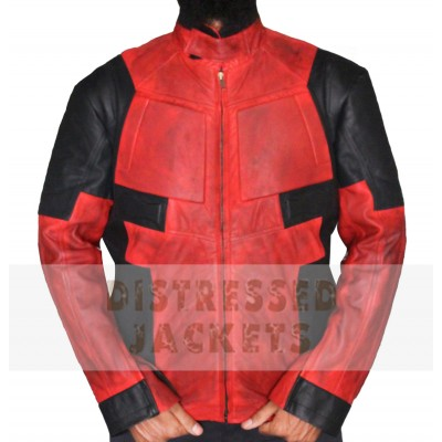 Red Distressed Mens Leather jacket for sale
