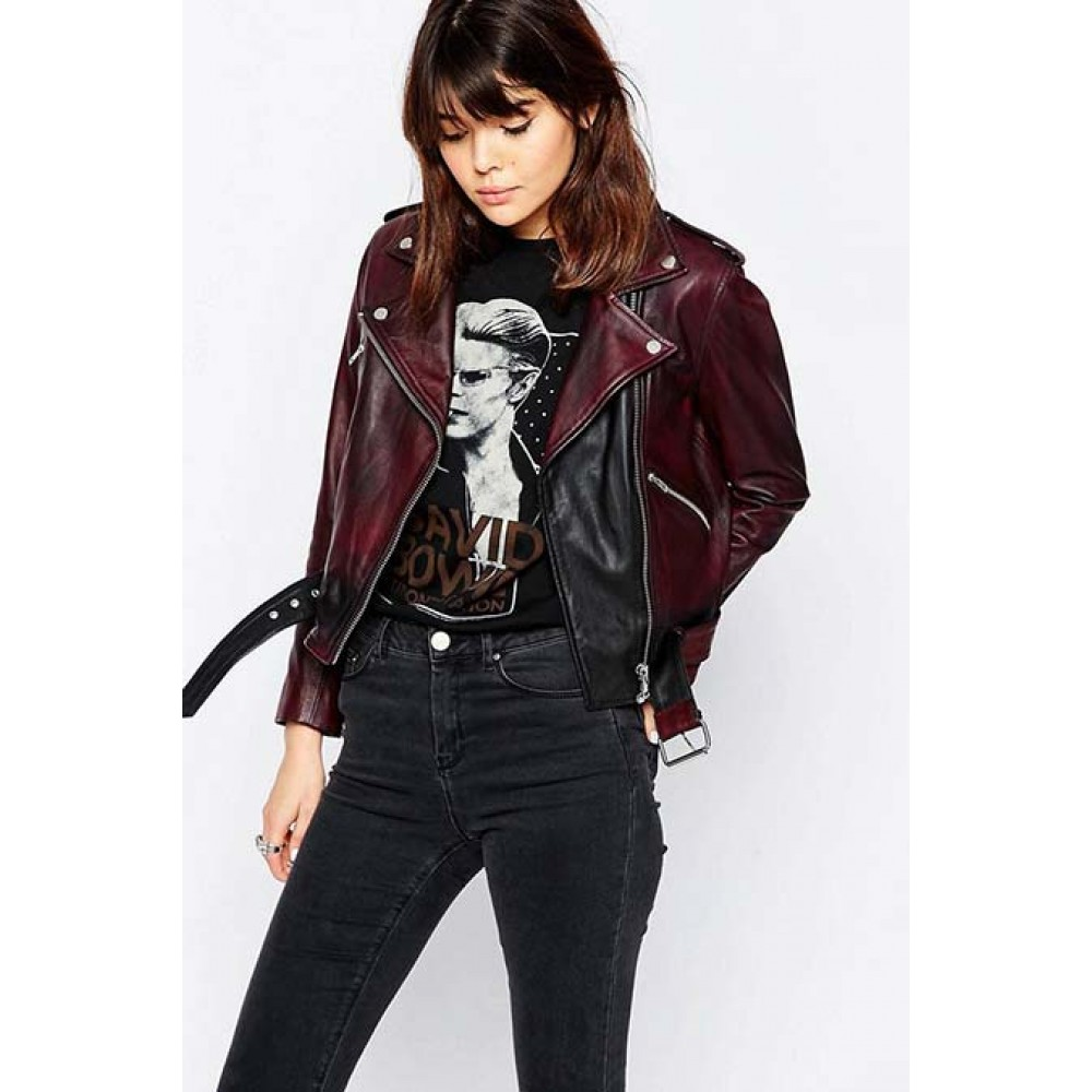 Womens Belted Moto Leather Jacket | Women Distressed Jacket