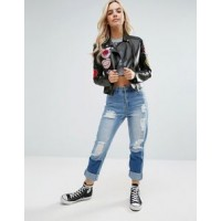 Glamorous Petite Leather Biker Jacket | Women Black Jackets