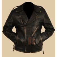 Heavy Duty Black Distressed Brando Jacket | Motorcycle Jackets
