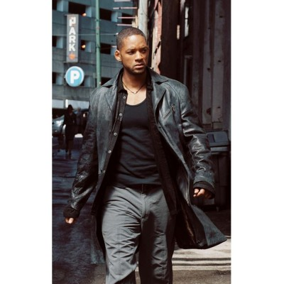 I Robot Will Smith Del Spooner Leather Coat | Black Long Coat