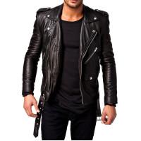 Black New Slim fit Biker leather jackets | Mens Black Distressed Leather Jacket