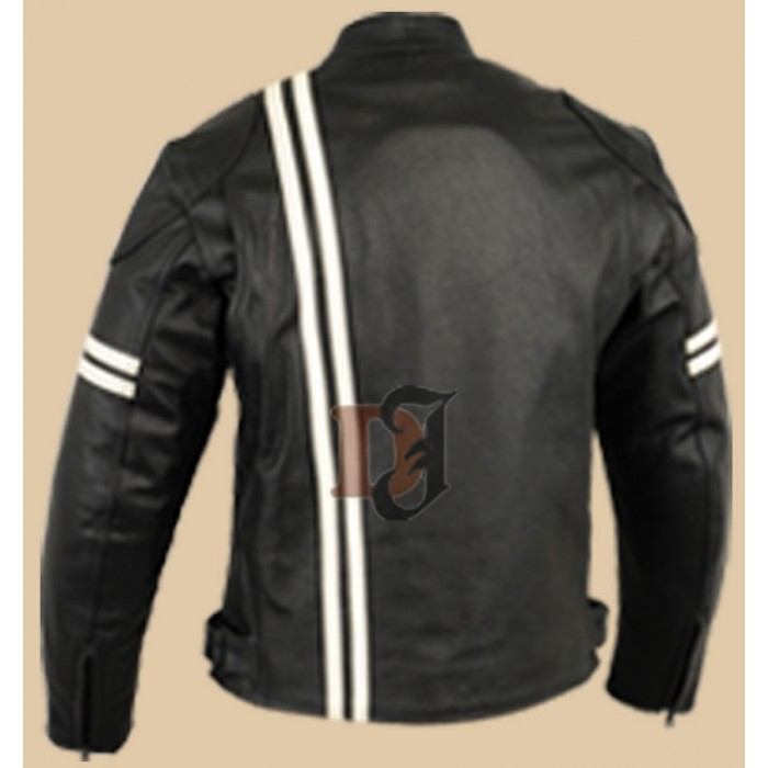 Men/'s White Genuine Leather Jacket with Red /& Navy Stripes
