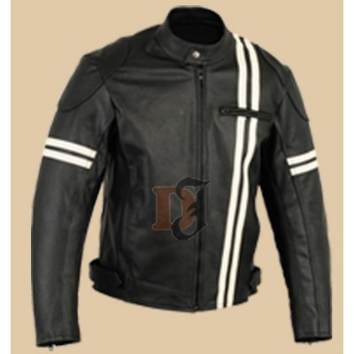 Men Motorcycle Black White Stripes leather Jacket | Mens Bker Jacket