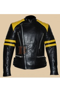 Men's Stylish Yellow Stripes Motorcycle Black Jacket | Rider Jackets