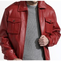 Men's Red Lambskin Leather Bomber Jacket For Sale | Valintine Special