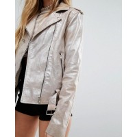 Sparkle Leather Biker Jacket For womens    Women Silver Jacket