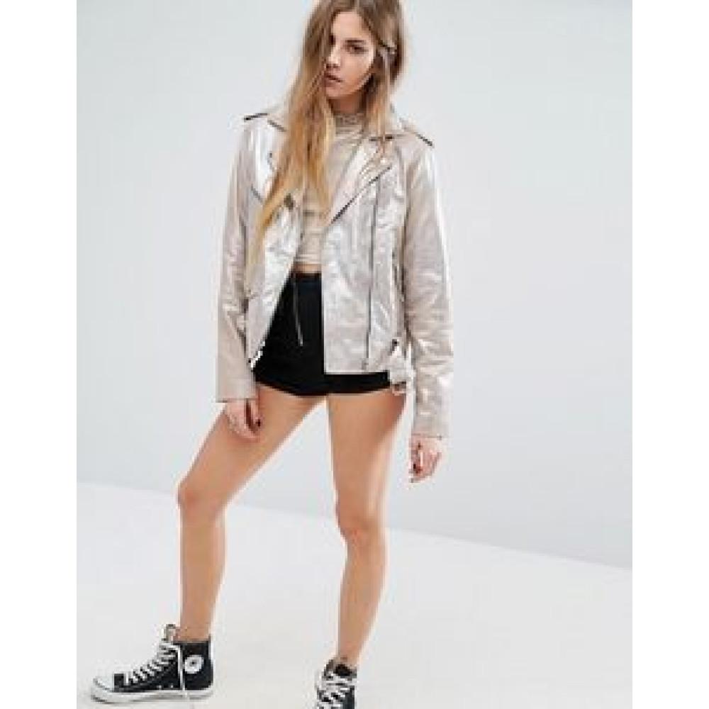 Sparkle Leather Biker Jacket For womens  | Women Silver Jacket