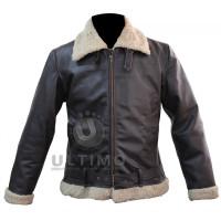 Bomber Style Rocky Balboa Real Leather Faux Shearling  Jacket - Rocky 4 Balboa Jacket