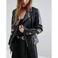 Women's Leather Biker Jacket | Women Studded Jackets