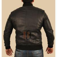 Slimfit Men Bomber Black Leather Jacket   Slim Fit Leather Jacket