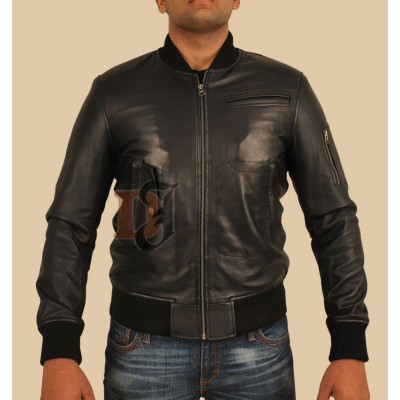 Slimfit Men Bomber Black Leather Jacket | Slim Fit Leather Jacket