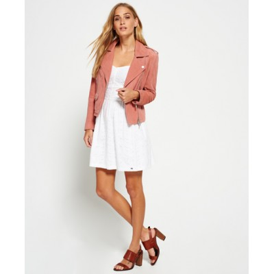 Suede Biker Leather Jacket For Womens   Pink Ladies Jackets