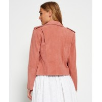 Suede Biker Leather Jacket For Womens | Pink Ladies Jackets