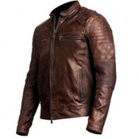 Men's Cafe Racer Distressed Brown Leather Jacket | Distressed Jackets