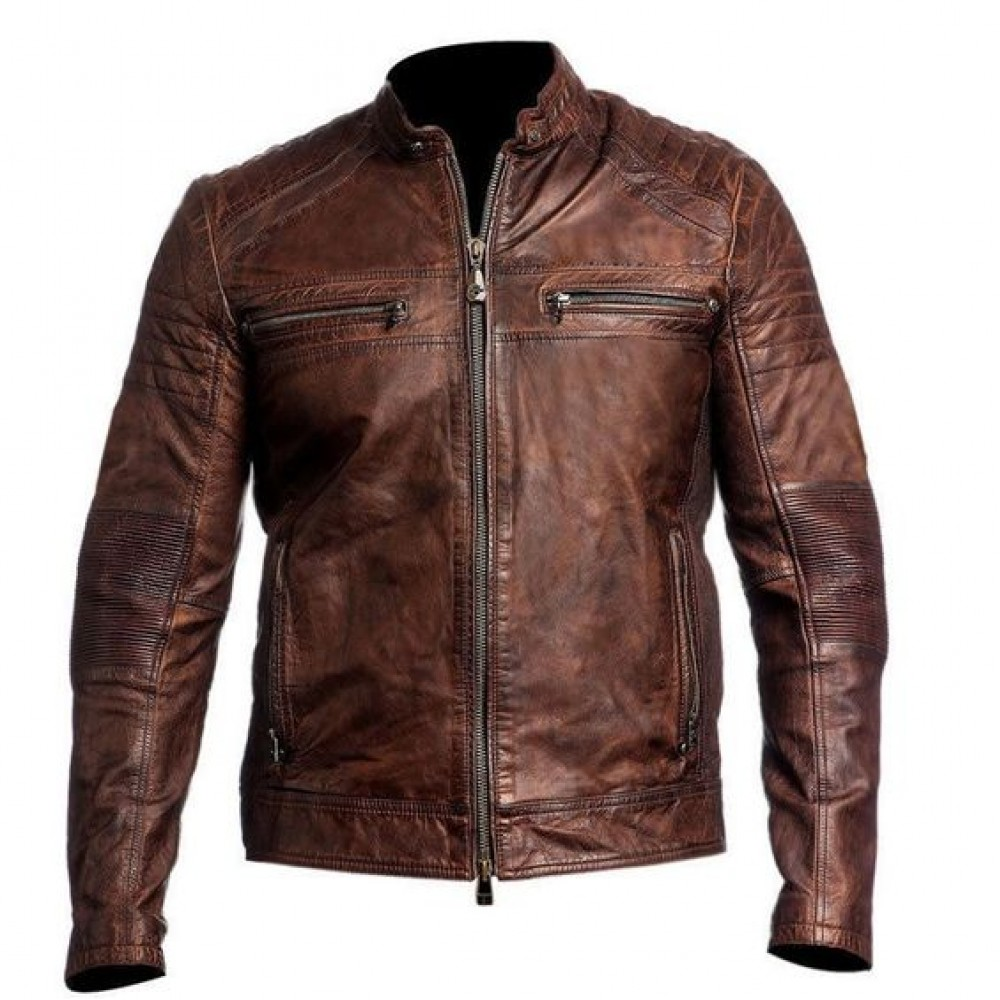 25fa6ccd0cd Buy Men s Cafe Racer Distressed Brown Biker Leather Jacket