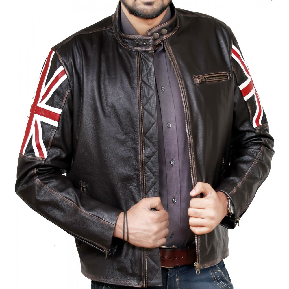 Vintage Union Jack Cafe Racer Leather Jacket | Leather Jacket for sale