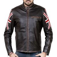 Vintage Union Jack Cafe Racer Leather Jacket | Leather Jacket for sale
