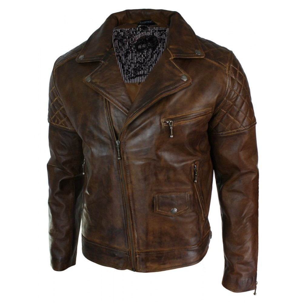 Vintage Biker Distressed Real Leather jacket | Dark Brown Jackets