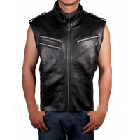 Dave Bautista Black Leather Vest Jacket | WWE Star Vest