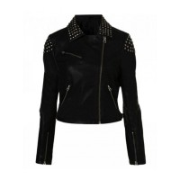 WWE Paige Black Studded Motorcycle Leather Jacket For Sale