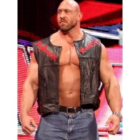 WWE Ryback Stylish Black Leather Vest Jacket | Wwe Superstar Vest