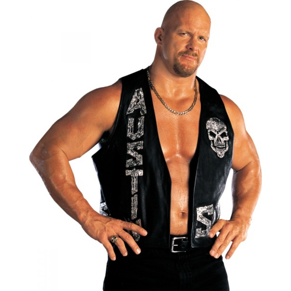 WWE Stone Cold Smoking Skull Vest Leather Jacket | Mens Leather Vest