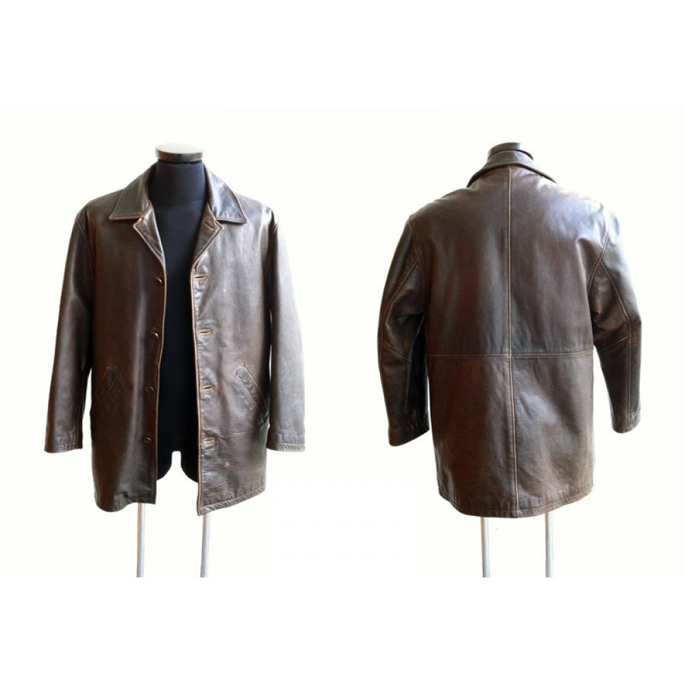 Distressed Supernatural Leather Jacket | Brown Leather Coat