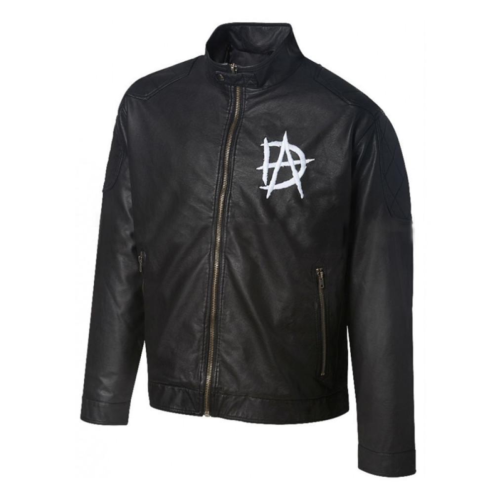 Wrestling Star Dean Ambrose Logo Black Leather Jacket | Men's Leather Jacket