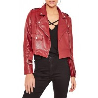 Biker Leather Moto Jacket for Womens | Women Red jackets