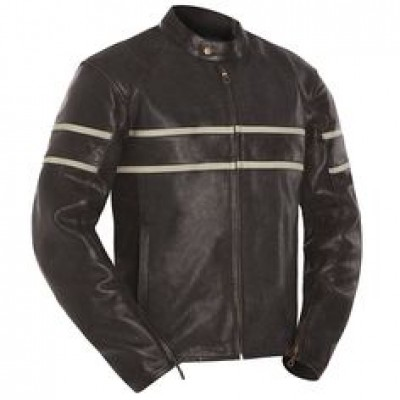 Cafe Racer Leather Motorcycle Jacket For sale