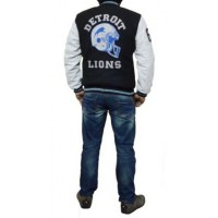 Black and White Letterman Detroit Lions leather Jacket
