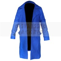 Blue Mens Distressed Leather Cote For sale