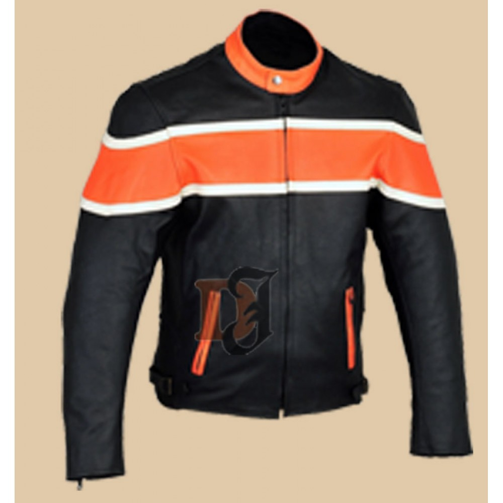 Men's Motorcycle Riding Black And Orange Jacket | Mens Biker Jackets