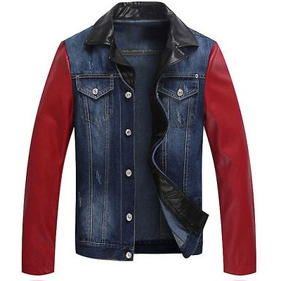 New Blue Jeans Jacket With Leather Sleeves For Sale | Distressed Jackets