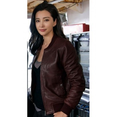 Bingbing Li Meg Movie Suyin Leather Jacket | Women Brown Jackets