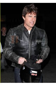 Tom Cruise Black Distressed Motorcycle Jacket | Black Leather Jacket
