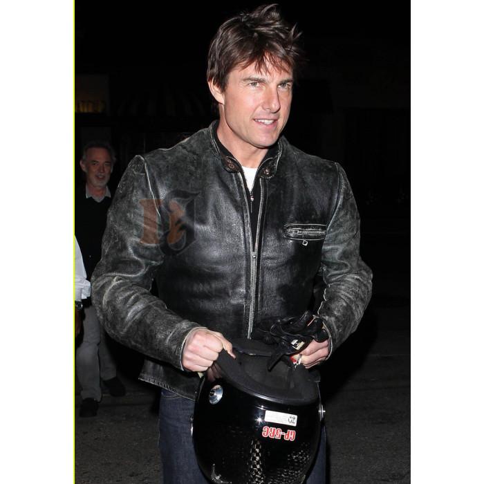 Buy Tom Cruise Black Distressed Motorcycle Jacket