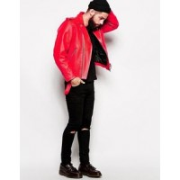 Men's Inspired Leather Biker Jacket In Red | Men's Leather Jacket