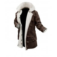 The Dark Knight Rises Batman Leather Men's Coat With Fuax Fur | Brown Leather Coats Sale