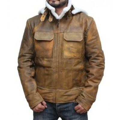 Shearling Leather Jacket With Hoodie For Mens Faux Fur | Mens Distressed Leather Jacket