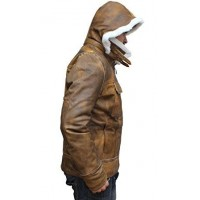 Shearling Leather Jacket With Hoodie For Mens Faux Fur   Mens Distressed Leather Jacket
