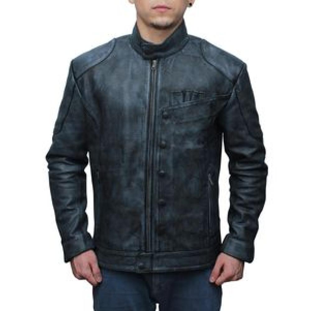 Black Star Wars Fighter Leather Jacket For sale