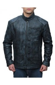 Black Star Wars Fighter Leather Jacket For sale