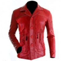 Men's Red Brad Pitt Fight Leather Jacket For Sale